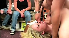 College coed party turns into a demonstration of how well the blonde fucks