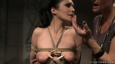 Katy puts clothespins all over Carrmen and tweaks her nipples