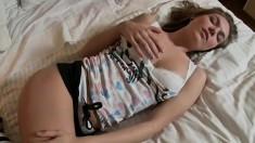 Unforgettable teen Keri is posing in her nice underwear and squeezes her boobs