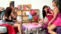 Horny young babes with perfect bodies get together for a wild party