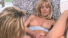 Jeannie and Tara use four fingers to take each other's twats to climax