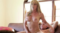 Buxom milf Shayla LaVeaux can't resist a young stud with a big prick