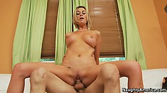 She gives him more head before she hops on to hump, then goes doggy