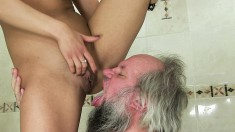 Naughty young blonde uses a long stick to drill this guy's cumhole