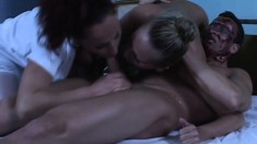 Wild babes taste each other's holes and share a big dick in the clinic