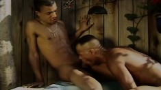 Two attractive and kinky gay friends fucking each other in the hot tub
