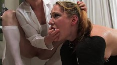 Naughty blonde minx Calico gets punished for pissing herself