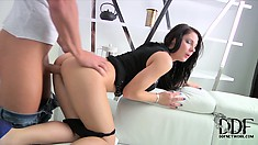 Dazzling brunette with a hot ass can't get enough of that nice pounding from behind