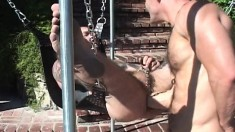 Tattooed Stud Gets His Juicy Ass Punished By His Kinky Lover Outside