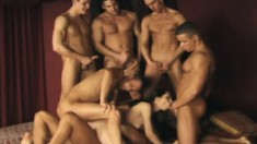 Sensual Brunette Belly Dancer Has A Group Of Boys Punishing Her Holes