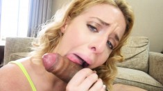 Sensuous blonde flaunts her juicy holes and delivers a great blowjob