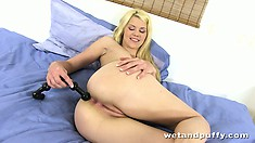 Amorous jizz lover Delphine screws her ravishing poontang with beads
