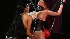 Wild dominatrix ties up and fingers eager blonde chick Anna Mills