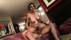 Granny's hairy pussy feels good about his big cock as she rides it