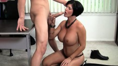 Curvy boss lady with a great rack orders this guy to dick her slit