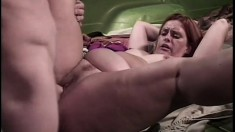 Old redhead is low on funds and fucks him for his car service