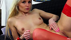 Horny MILF with a fine ass and nice tits lets her fingers do the walking
