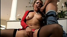 Busty blonde milf sensually touches herself before getting fucked hard