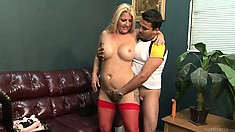 Chunky blonde MILF with juicy curves gets fingered and eaten out