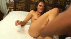 Filthy chick begs a dude to open up every one of her tight holes