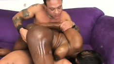 Skilled black chick satisfies a dude by giving head and riding his cock