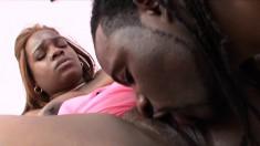 Chunky ebony girl is in need of a huge black stick in her fiery peach