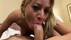 Blonde hottie in sexy blue lingerie gets pounded hard in a hotel room