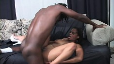 Buxom ebony lady welcomes a massive black cock deep in her wet snatch