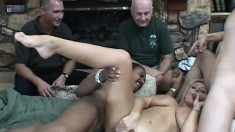 Chubby blonde with big knockers in a hard pounding DP threesome being watched
