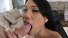 Long-haired Asian Beauty Makes A Guy Cum By Bouncing On His Boner