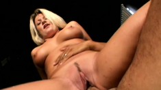 Hot blonde college babe with amazing tits and ass has an older guy banging her twat