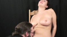 Busty redheaded chick moans while having her juicy slit worked