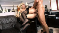 A little office sex with Donna Bell ass fucking and drinking his jizz