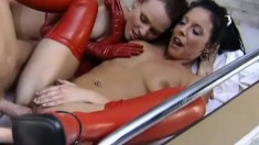 Latex Loving Sandra And Asta Are In A Threesome Getting Banged And Eating Cum