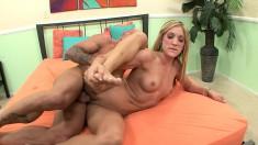 A horny ripped stallion enjoys nailing blonde bimbo Amy Brooke
