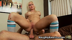 Lying on her back with her legs wide open, Sammie welcomes his rod deep in her twat