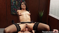 Hot Latina babe Lyla Storm gets drilled deep in her twat on the desk