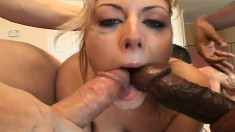 Insatiable blonde Velicity takes on a bunch of guys' bulging boners