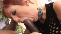Ravishing redhead with superb big boobs is yearning for a black stick