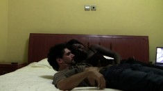 Ebony caught on hidden cam giving a white dude head in a motel
