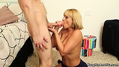 Dazzling blonde Mellanie Monroe uses her lips and big tits to please a big cock