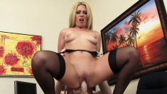 Wild milf Stevie Lix seduces a young employee to satisfy her desires
