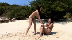 Buxom beauties taking care of each other's lesbian urges on the beach
