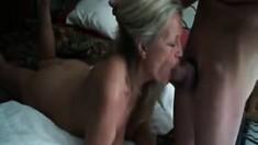 Slutty blonde sucking big cocks