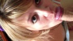 Amateur blonde girlfriend homemade blowjob and handjob