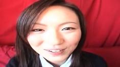 Mana Katase is a nice Asian teen in a school uniform