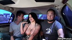 Chubby broad with massive tits flashes them in the back of a limo