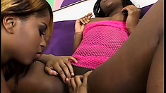 Sexy lesbian bitches give each other's cunts a sloppy licking