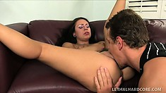 Eager tattooed whore gets anal slammed by a horny German beaver basher