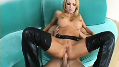 Alluring blonde with perky tits gets fucked hard in both holes and fully enjoys it